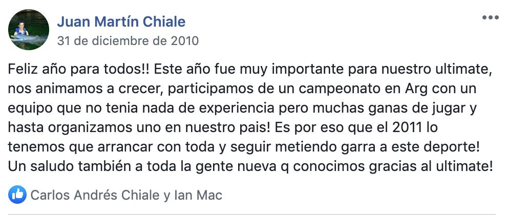 Publicación de Juanma para cerrar el año 2010 y el comienzo de la historia del Ultimate en Uruguay.
