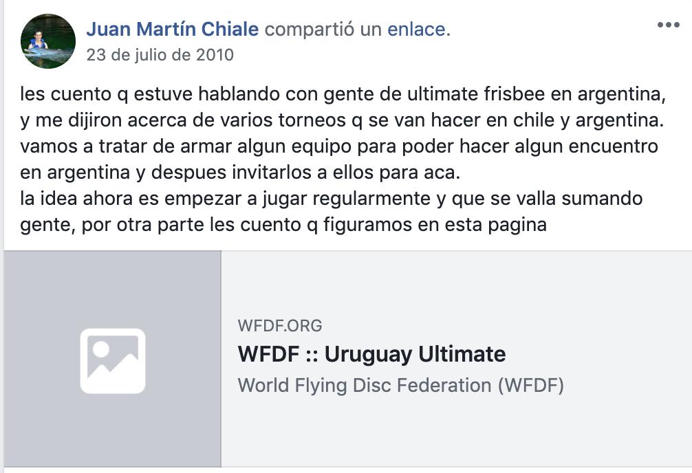 Publicación de Juanma en el comienzo de la historia del Ultimate en Uruguay.